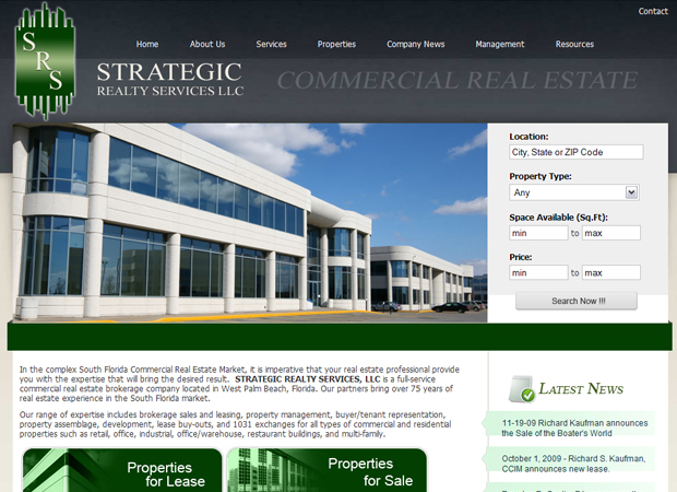 Commercial real estate web design commercial properties for Home design websites