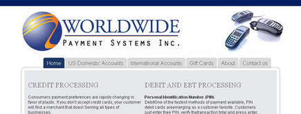 Web developer portfolio: Worlwide Payment Systems
